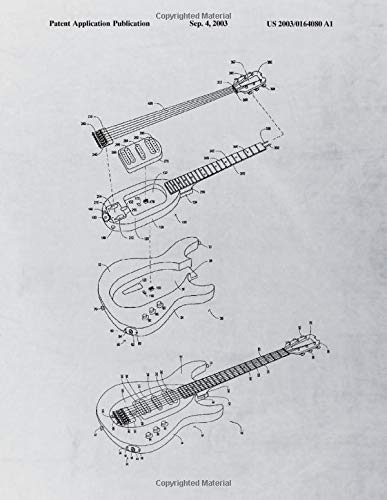 E-Guitar Notebook: E-Guitar Blueprint Music Journal Diary, 100 Dot Grid Pages, 8.5x11 Inches