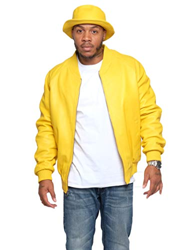 Jakewood Men's Leather Bomber Baseball Varsity Jacket Genuine Lambskin Made in USA (Yellow, 4X-Large)
