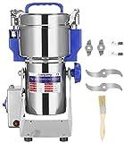 Moongiantgo 400g Molino de Cereales Eléctrico 50-300 Mesh, Acero Inoxidable & 2400W 28000rpm Motor Comercial, para Cereales y Especias, con Protección de Sobrecarga & Open-Cover-Stop (400g Oscilante)