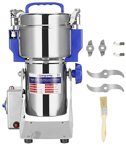 Moongiantgo 400g Molino de Cereales Eléctrico 50-300 Mesh, Acero Inoxidable & 2400W 28000rpm Motor Comercial, para Cereales y Especias, con Protección de Sobrecarga & Open-Cover-Stop (400g Osc