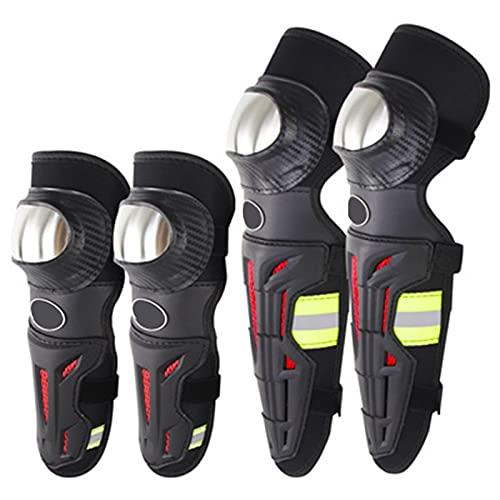Espinilleras Protector de coderas y rodilleras para adultos,Armadura de codo ajustablepara motocicleta Motocross Racing Mountain Bike,Flexible Transpirable,Negro
