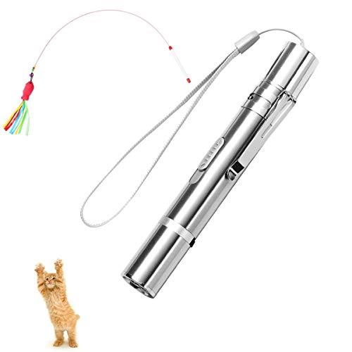 LAOYE Katzenspielzeug Haustier Interaktives Spielzeug inkl. LED Pointer & Katzenangel Federn für Kätzchen und Katzen