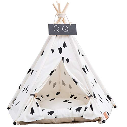 Arkmiido Dog Teepee Bed Cat Tent-Portable Pet Dog Tent Indoor Dog House-Puppy Dog Bed Accessories for Small Dogs- Pet Houses for Puppy or Cat with Thick Cushion and Blackboard