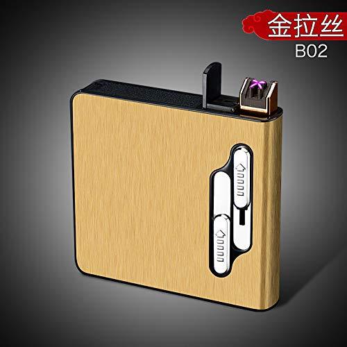 RONSHIN 20 stks Capaciteit Mannen Sigarettendoos met USB Elektrische Aansteker Sigarettenhouder Oplaadbare Elektronische Gadgets, Goud