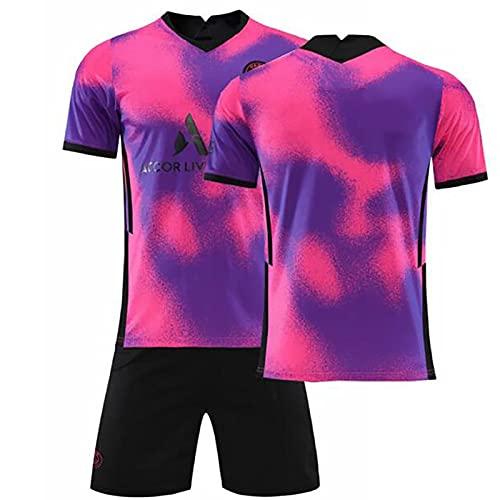 Weqenqing Camiseta De Fútbol De La Segunda Equipación De París, Traje De Camiseta De Fútbol Rosa Y Morado, Camisetas Y Pantalones Cortos De Entrenamiento Deportivo para Adultos Y Niños