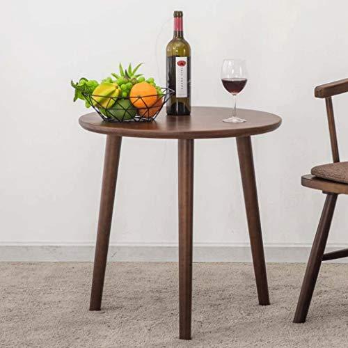 Table d'appoint de Salon en Bois Massif Café Rond Table de thé Portable Moderne Chambre à Coucher Côté terrasse (Couleur : Brown)