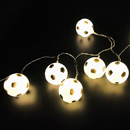 Lijerly 3 M / 9.8 Ft 20 Lights Battery Powered Football Soccer Shape LED String Lights for Indoor/Outdoor Halloween Christmas Thanksgiving Party Children Kids Bedroom Decoration (Warm White)