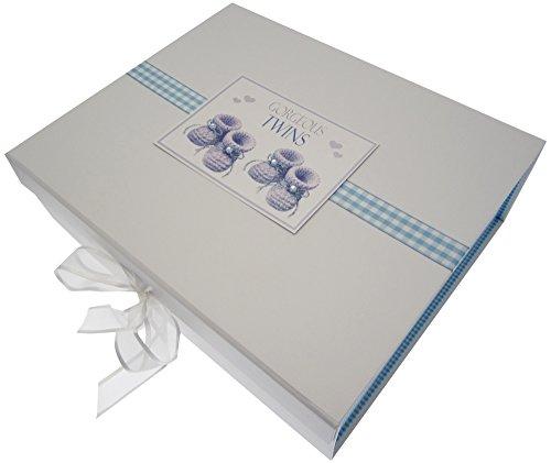 White Cotton Cards Gorgeous Twins, grande boîte souvenir, chaussons, Bleu
