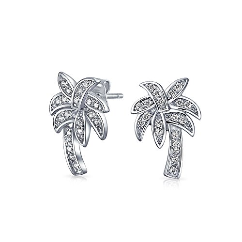 Nautical Pave Cubic Zirconia CZ Tropical Beach Palm Tree Stud Earrings For Women For Teen 925 Sterling Silver