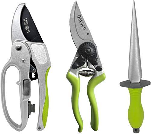 Davaon Pro Tijeras de podar, Trinquete 2 en 1 + bypass ergonómico + afilador para cuchillos y herramientas de jardín Menos esfuerzo y mejor comodidad para podar árboles, calidad