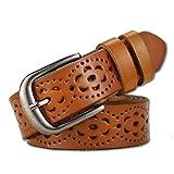 Cintura donna vintage in vera pelle di vacchetta Cintura moda donna in design a motivo vuoto con fibbia in lega per jeans (Marrone)