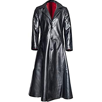Mens Retro Leather Vintage Long Coat Trench Steampunk Gothic Jacket Overcoat  L Black