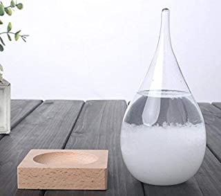 WEATHERFLAKE Weather Predicting Storm Glass-Decorative Beautiful and Unique Forecaster-Teardrop Shaped Barometer with Wood...