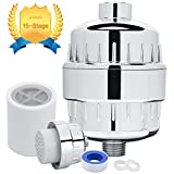 15-Stage Shower Filter - Hard Water Filter -Showerhead Filter- Replaceable Multi-Stage Filter Cartridge- For City Water- Chrome