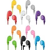 Maeline Bulk Earphones with 3.5 mm Headphone Plug - 10 Pack - Multi