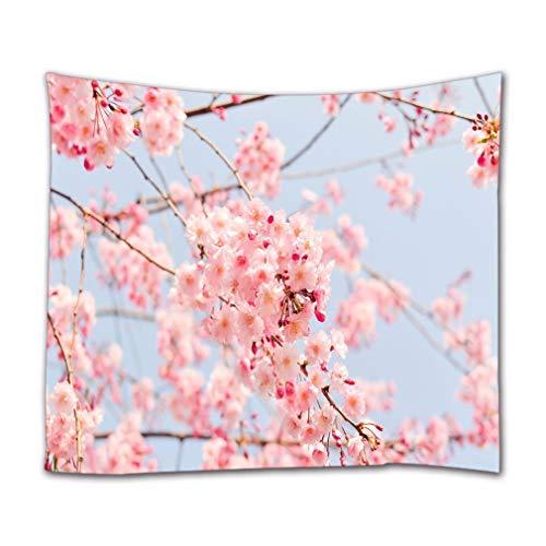 A.Monamour Wandteppich Rosa Kirschblüten Sakura Blumen Natur Landschaft Tuch Kunstdruck Tapisserie Wandbehang Wanddeko Vorhang Tischdecke Tagesdecke Picknickdecken Stranddecke