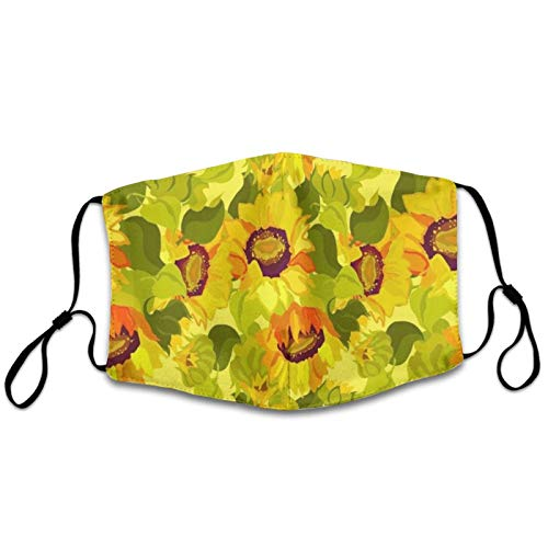 NiYoung Women & Men Floral Pattern Sunflowers Face Mask Dustproof Windproof Breathability Mouth Decoration Breathability with Adjustable Elastic Band for Climbing