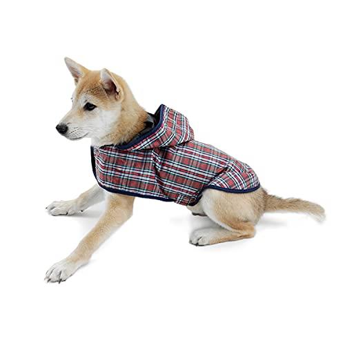 PAWZ Road ドッグウェア 犬服 レインコート 犬 猫 小型犬 中型犬 防水 梅雨対策 通気性よい 洗える 着脱簡単 チェック柄 かわいい XL