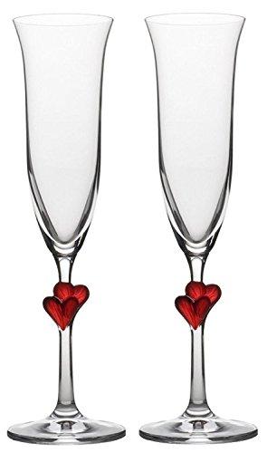 Copas para vino espumoso L´Amour de Stölzle Lausitz con corazones rojos, de 175 ml, juego de 2, aptas para lavavajillas: Romántico dúo de copas para disfrutar en pareja del vino espumoso