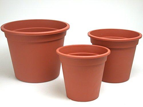 Euro 3 Plast 3973022 Set 10 Vasi coccio Color Cotto cm 22 Giardino Arredo da Esterno