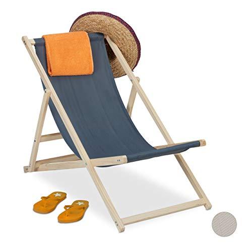 Relaxdays Liegestuhl Holz, Holz Strandliege mit Stoffbezug, klappbar & verstellbar, Garten, Strand & Balkon, dunkelgrau