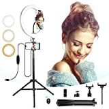 goamz 10''dimmerabile selfie ring light con treppiede, 3 modalità colore e 10 luminosità, supporto porta cellulare per youtube video,streaming live, trucco, fotografia