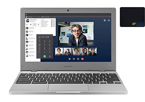 2020 Newest Samsung Chromebook 11.6' HD Laptop, Intel Celeron N4000 Processor, 4GB RAM, 32GB eMMC, Webcam, Online Class, Bluetooth, WiFi, MicroSD Card Reader, Chrome OS , Platinum Titan, KKE Bundle