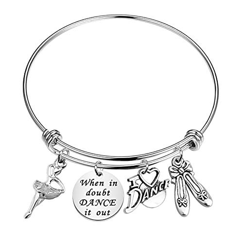 FUSTYLE Dance Bracelet Dancer Gift Ballerina Jewelry When In Doubt Dance It Out Expandable Bracelet for Dance Teams, Dance Partner, Best Friend (silver)