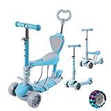 Patinete de 3 ruedas para niños pequeños y niñas, 5 en 1, con asiento extraíble, ruedas de luz LED, manillar de aluminio ajustable en altura, base ancha antideslizante, sin pedales