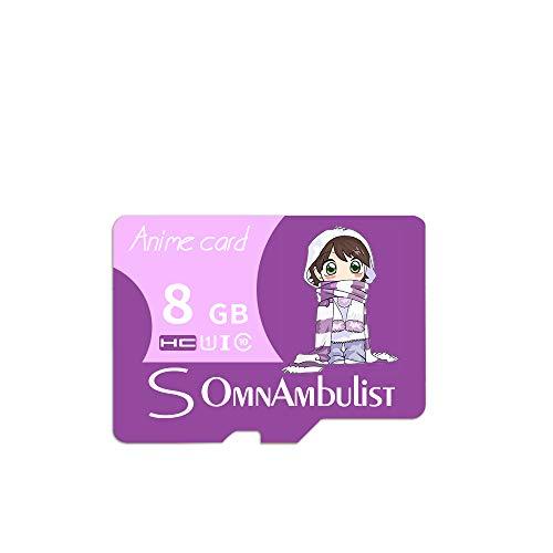 MeterMall CE-Cartoon Paars Meisje TF-geheugenkaart met adapter en kaartlezer 8 gb