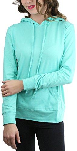 ToBeInStyle Women's Thin L.S. Drawstring Hooded Sweatshirt - Mint - Small