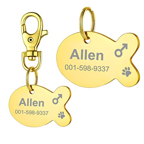 PROSTEEL Custom for Dog Collar Gold Plated Stainless Steel Dog cat tag Engraved Pet Dog Collar Accessories ID tag Name Telephone Personalized Fish Dogtags