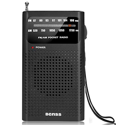 Portable Radio Pocket AM FM Transistor Radio Battery Operated Radio with Loud Speaker, Earphone Jack, Great Reception and Stereo Bass Sound, Best Gifts for Elderly