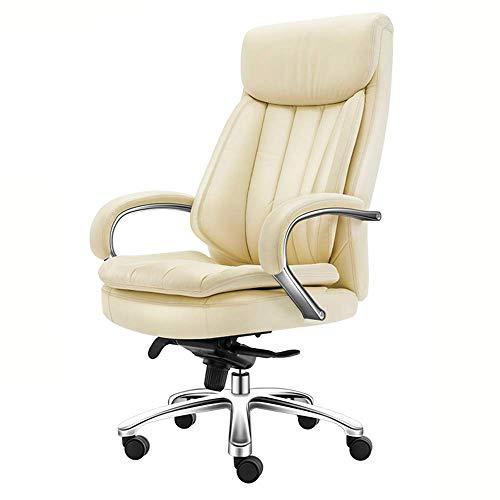 Bürostuhl Leder Drehbarer Computertisch verstellbar, Chef Stuhl, Liegen - Home Office Arbeitszimmer Möbel, Beige