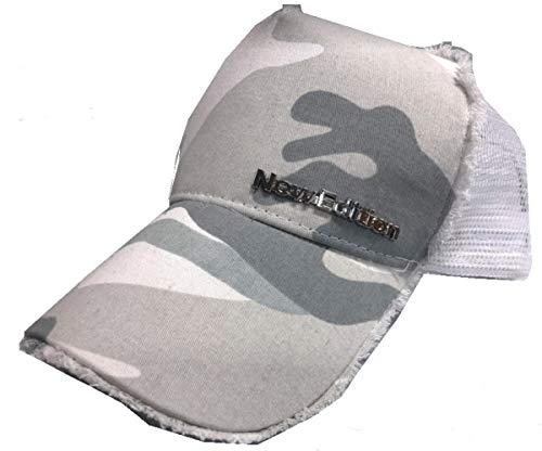 【NewEdition GOLFR】ニューエディションゴルフ・カモフラージュ柄 カモ柄 3D刺繍アスリート ワッペン キャップ サンバイザー メッシュ ゴルフ 帽子 フリーサイズ NEG-299 (ヒゲ・ホワイトカモ)