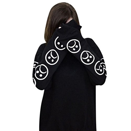 Jushye Women's Hoodies, Ladies Autumn Hoody Sad Faces Emoticon Sleeves Printed Sweatshirt Long Sleeve Blouse Tops Pullover (S, Black)