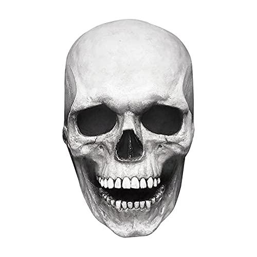 PEPENE Funda de calavera espeluznante para hombre, cabeza completa de látex realista, accesorio de cosplay para fiesta de Halloween, cabeza de calavera 3D movible para fiesta de festivales