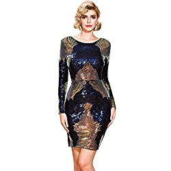 Long Sleeves Multi Sequin O Neck Backless Short Dress