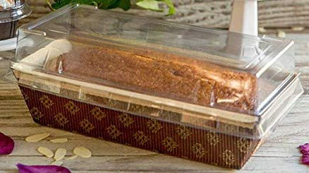 Bread and Loaf Paper Pans with clear dome lid 7 X 3 X 2 - 12 sets Rectangular Paper Loaf Pan Molds Medium Size oven safe heavy duty self standing brown and gold scrolled paper pen