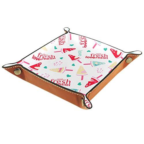 Valet Plateau Organisateur de Bureau boîte de Rangement en Cuir Amour crème glacée fraîche pastèque Plateau sans Couture catchall pour Un Usage Domestique
