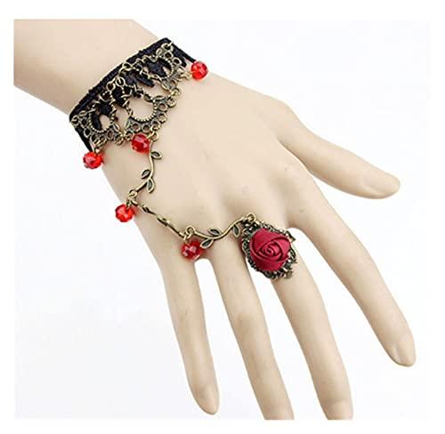 zhongbao Cadena de dedo 1 pulsera gótica vintage para mujer, pulsera de encaje con flores, cadena de esclavos, regalo de temperamento Cadena de dedo (color metálico: rojo)