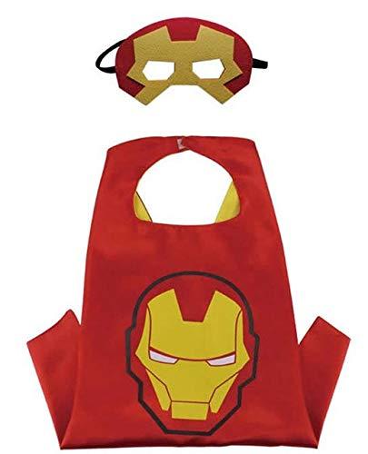 HOUSE CLOUD Costumi da Supereroi per Bambini - Regali di Compleanno - Costumi di Carnevale - 1 Mantello - Logo di Iron Man con Maschera – Giocattoli per Bambini e Bambine