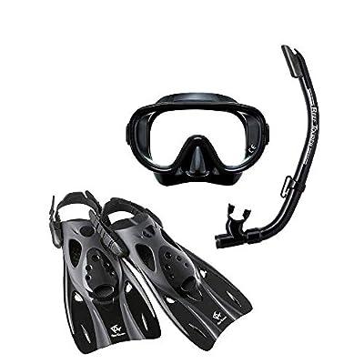 Reef Tourer Adult Single-Window Mask, Snorkel and Fin Traveling Set