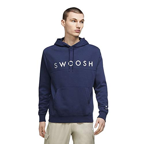 Nike Sportswear Swoosh - Sudadera para hombre con capucha DC2586-410, color azul marino y plateado Midnight Navy/Metallic Silver S