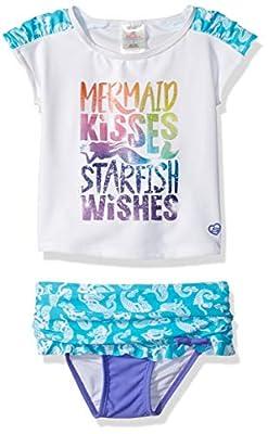 Skechers Girls' Toddler Swim Suit Bathingsuit Set with Rashguard, Mermaid Kisses Starfish Wishes, 4T