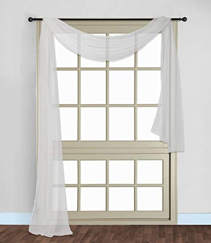 Scarf Sheer Voile 37x216 Window Premium Quality Home Event Designs Beautiful Elegant Solid Topper Long Treatment Scarves Decorative Wedding Valance Curtain Living Room Bedroom Ceremony (WHITE)