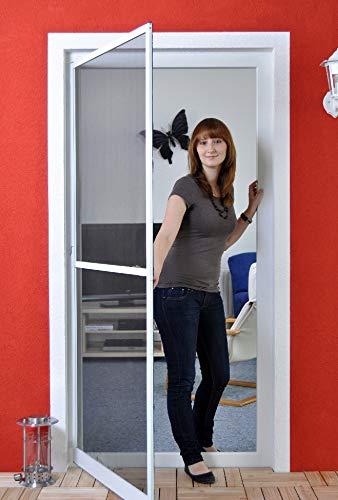 Premium Slim PLUS Fliegengitter für Tür bis max. 93 x 203 cm | mit Fiberglasgewebe - Profi Insektenschutz - 100 cm x 210 cm weiß