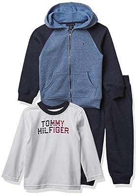 Tommy Hilfiger Boys' 3 Pieces Jacket Pants Set, Blue/Navy/White, 3T