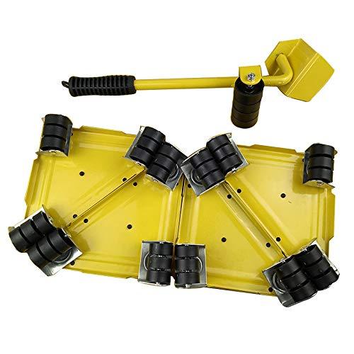 RGHJH Möbelheber mit 4er-Pack-Moving-Slidern, Möbel-Moving-Roller-Set, schweren Möbel-Roller-Move-Werkzeugen, maximal 300 kg, um 360 Grad drehbare Pads Yellow