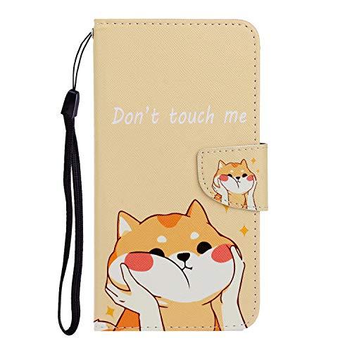 Nadoli Hülle für Samsung Galaxy A21S,Süß Hund Muster PU Leder Magnetisch Flip Brieftasche mit Handschlaufe Kartenslot Ständer Klapphülle